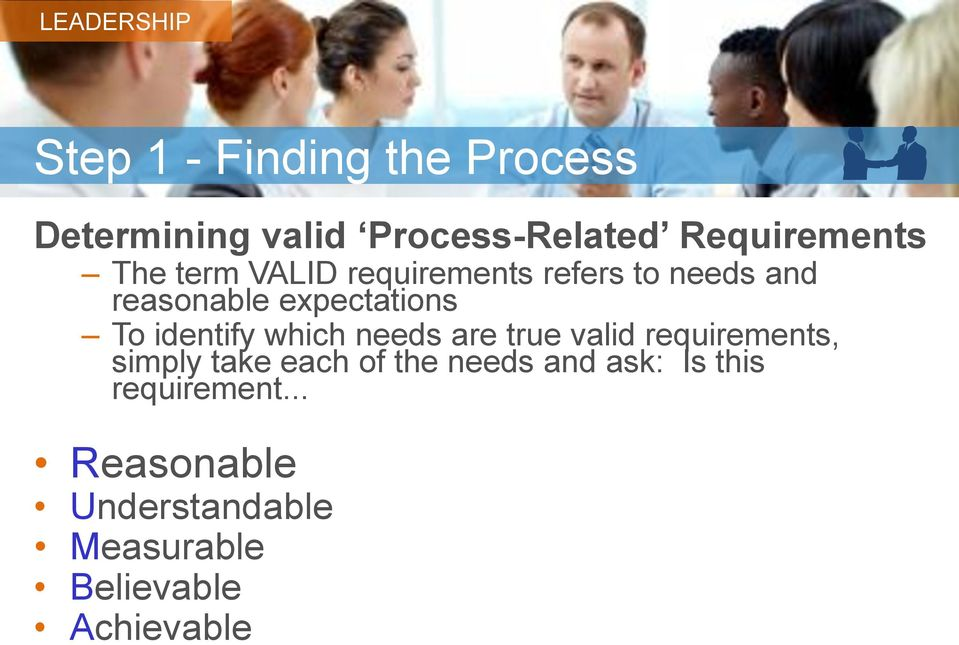 which needs are true valid requirements, simply take each of the needs and ask: