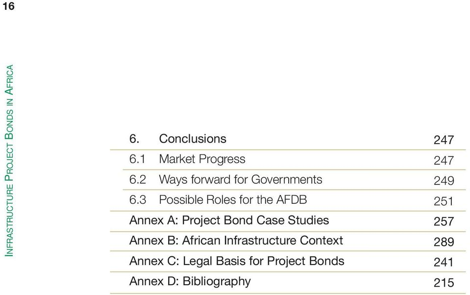 3 Possible Roles for the AFDB Annex A: Project Bond Case Studies