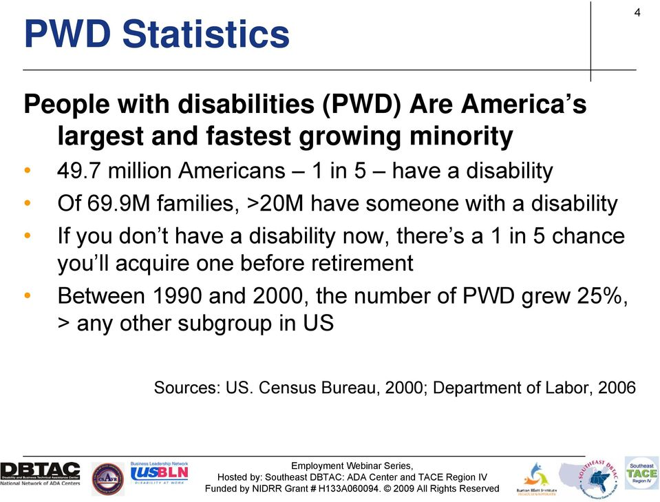 9M families, >20M have someone with a disability If you don t have a disability now, there s a 1 in 5 chance