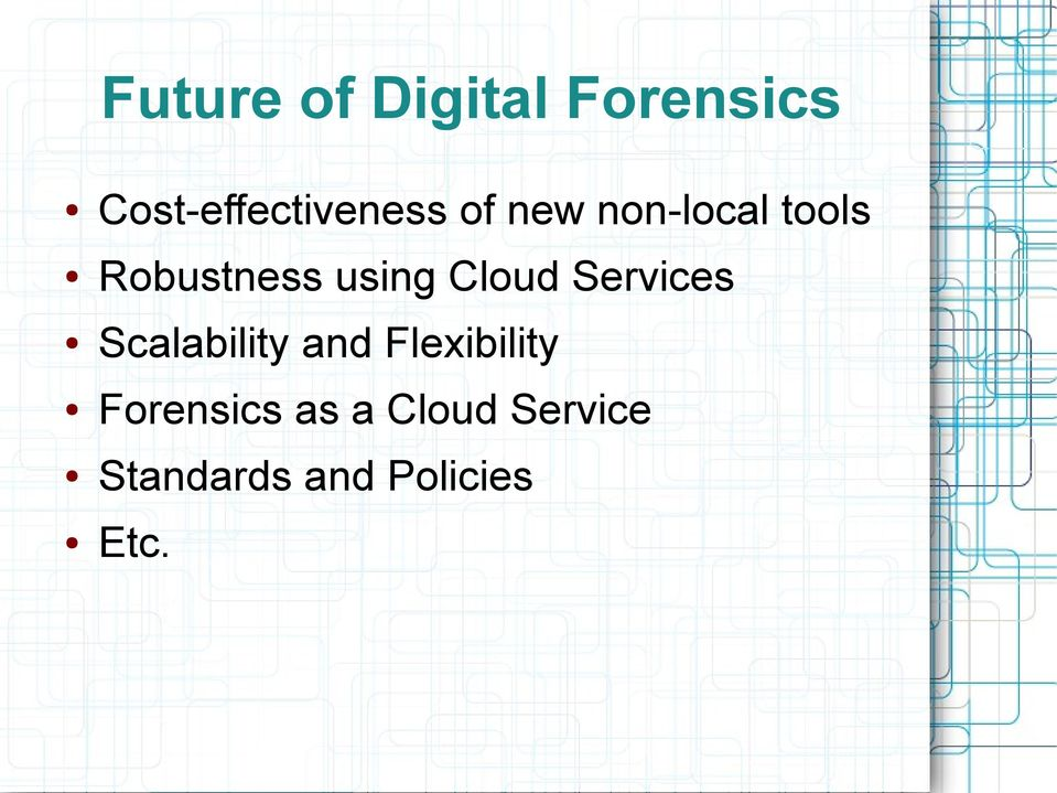 Services Scalability and Flexibility Forensics
