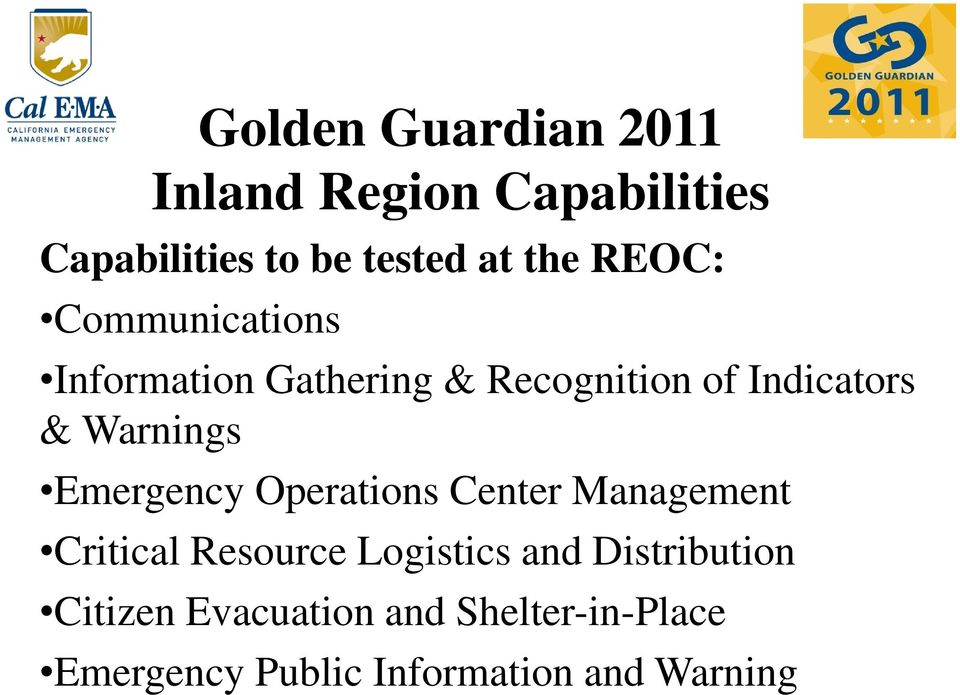 Emergency Operations Center Management Critical Resource Logistics and