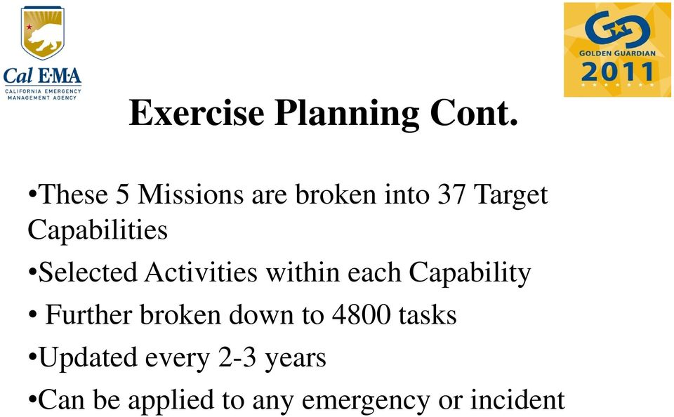 Selected Activities within each Capability Further