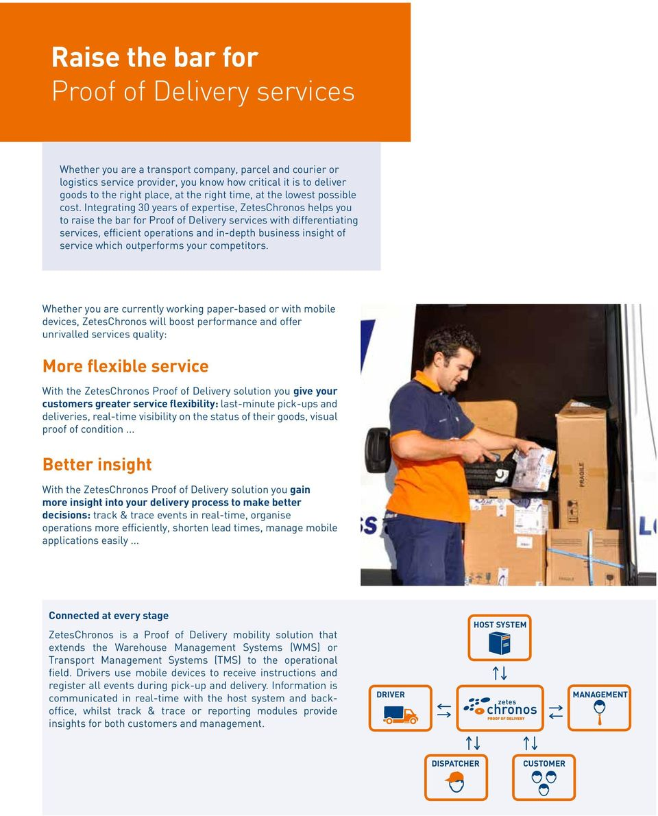 Integrating 30 years of expertise, ZetesChronos helps you to raise the bar for Proof of Delivery services with differentiating services, efficient operations and in-depth business insight of service