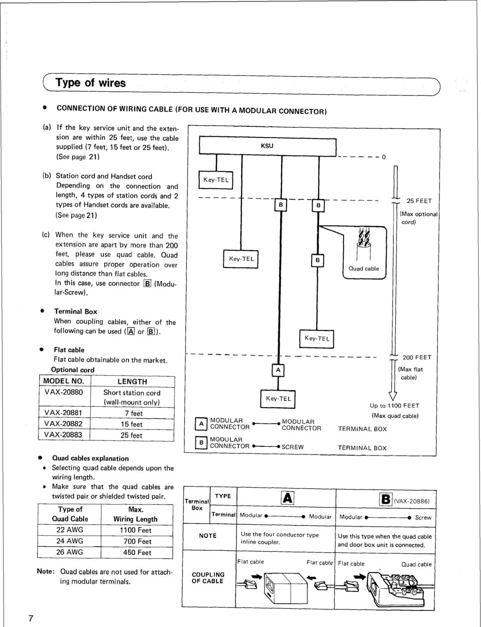 (See page 21) ----_ -- KSU - --A---o n 25 FEET [Max option: cord) ll (c) When the key service unit and the extension are apart by more than 200 feet, please use quad cable.