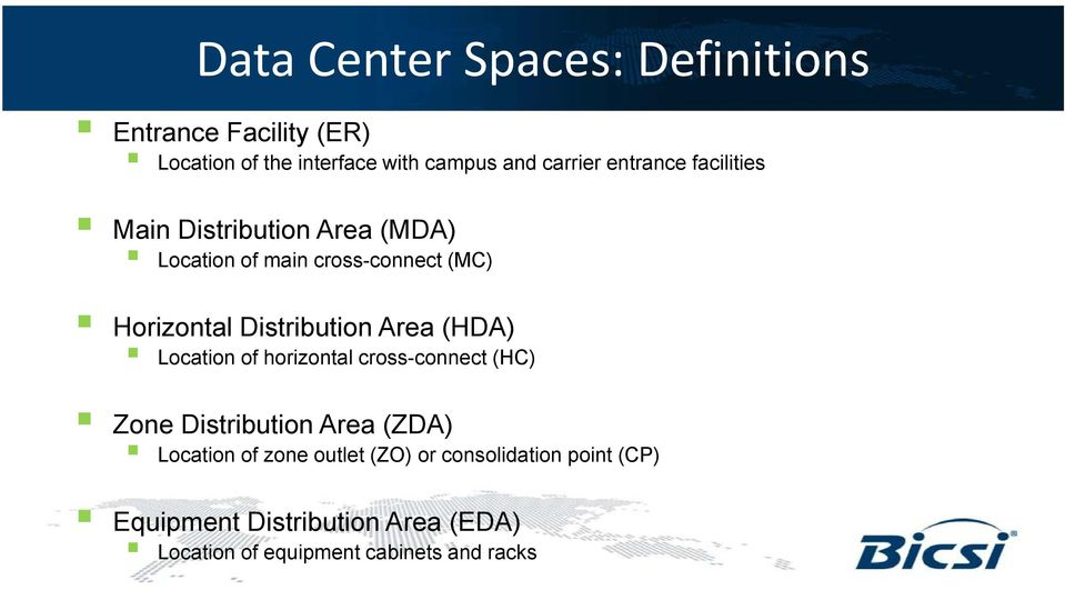 Distribution Area () Location of horizontal cross-connect (HC) Zone Distribution Area (ZDA) Location of