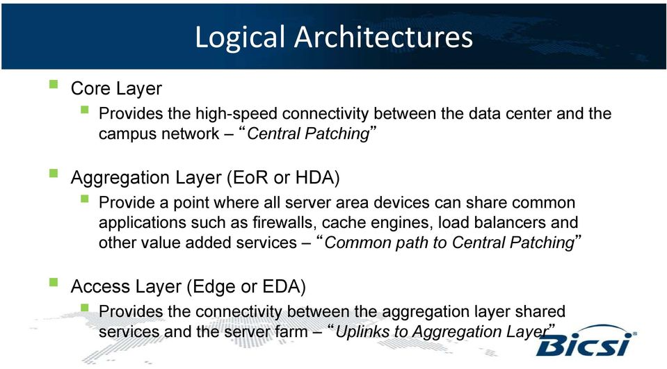 firewalls, cache engines, load balancers and other value added services Common path to Central Patching Access Layer (Edge or