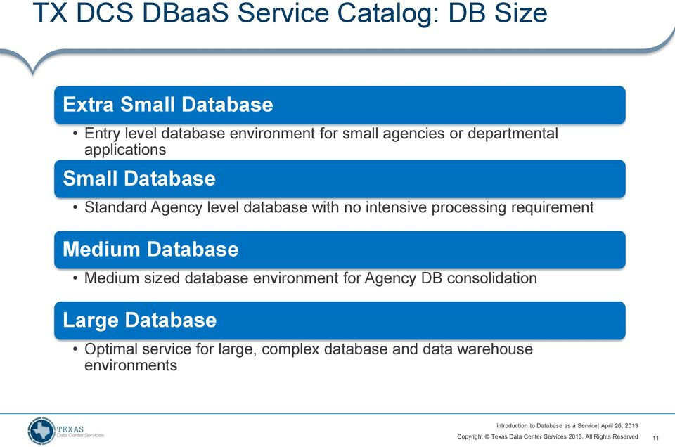 intensive processing requirement Medium Database Medium sized database environment for Agency DB