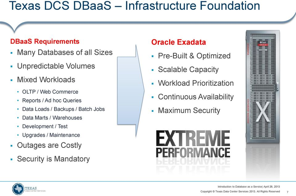 Marts / Warehouses Development / Test Upgrades / Maintenance Outages are Costly Oracle Exadata Pre-Built &