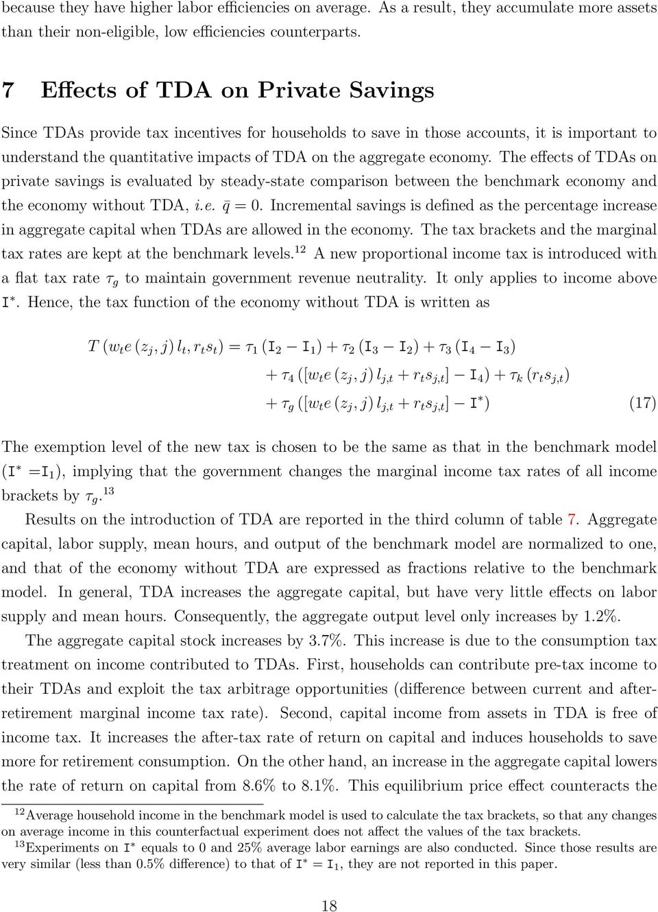 The effects of TDAs on private savings is evaluated by steady-state comparison between the benchmark economy and the economy without TDA, i.e. q = 0.