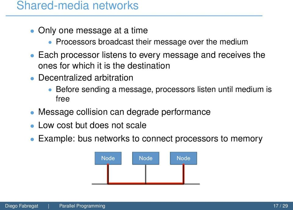 arbitration Before sending a message, processors listen until medium is free Message collision can degrade