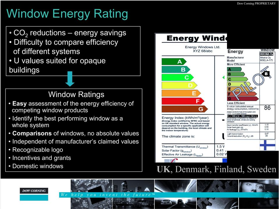 products Identify the best performing window as a whole system Comparisons of windows, no absolute values