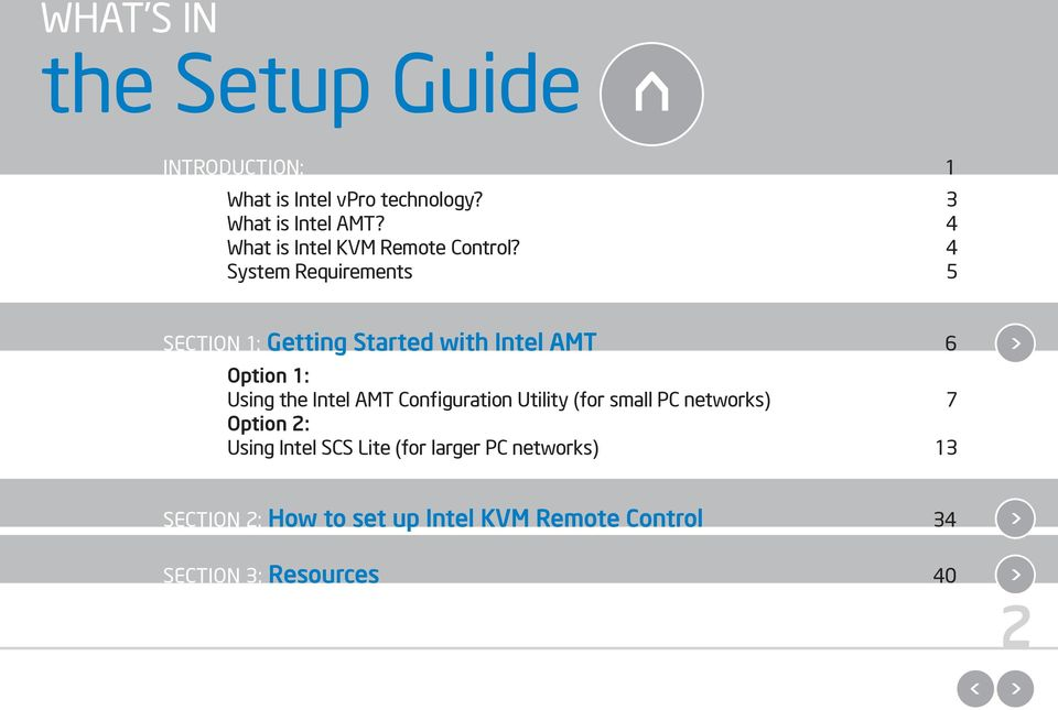 4 System Requirements 5 SECTION 1: Getting Started with Intel AMT 6 Option 1: Using the Intel AMT