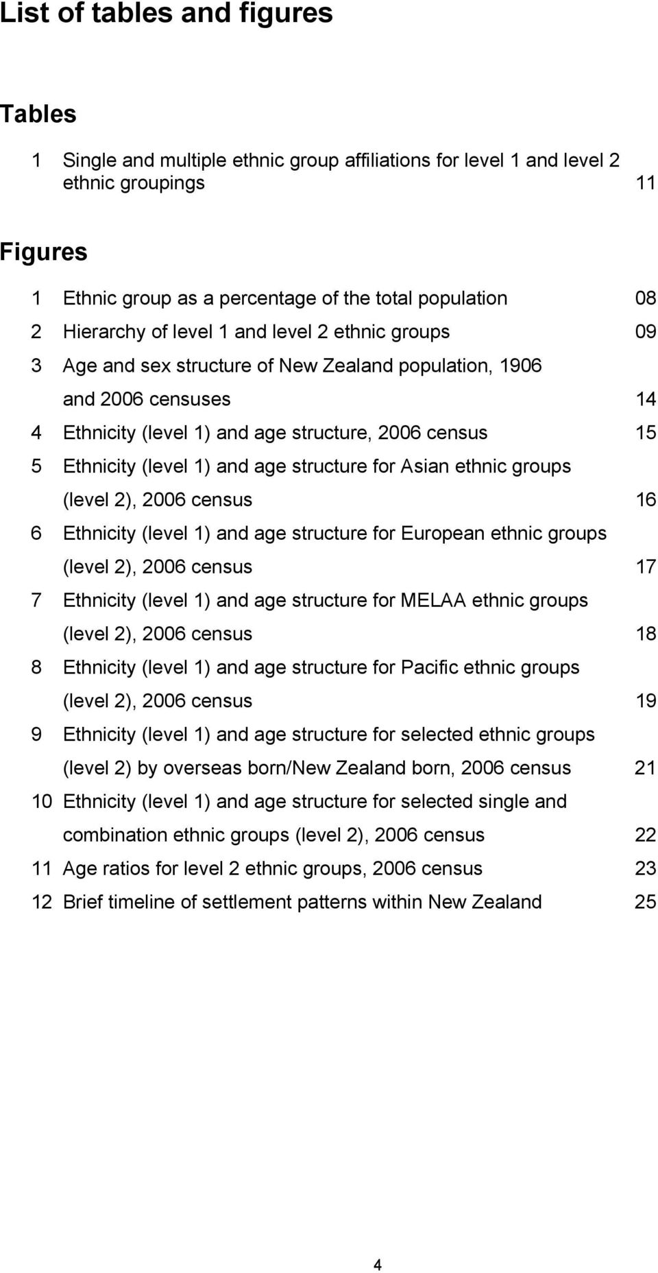 (level 1) and age structure for Asian ethnic groups (level 2), 2006 census 16 6 Ethnicity (level 1) and age structure for European ethnic groups (level 2), 2006 census 17 7 Ethnicity (level 1) and