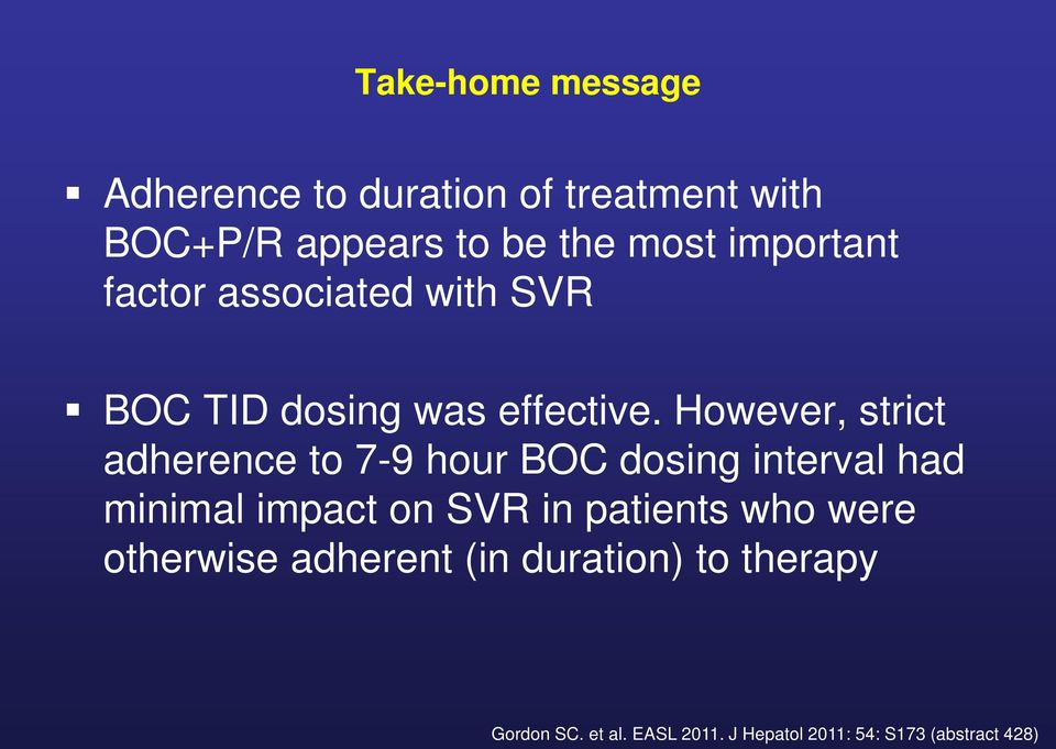 However, strict adherence to 7-9 hour BOC dosing interval had minimal impact on SVR in