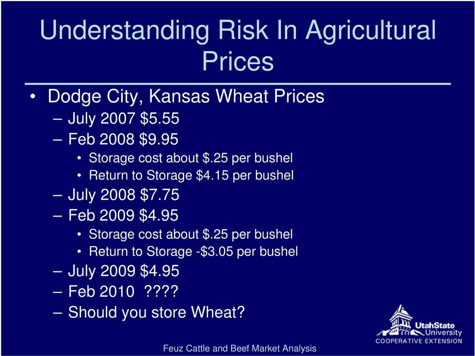 15 per bushel July 2008 $7.75 Feb 2009 $4.95 Storage cost about $.