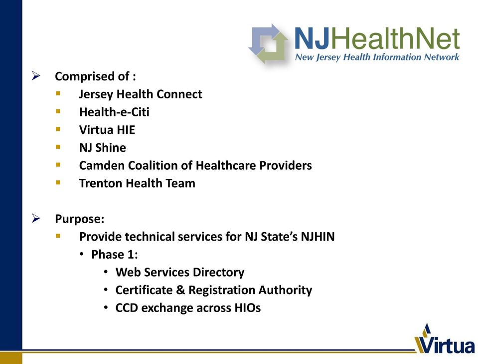 Provide technical services for NJ State s NJHIN Phase 1: Web Services