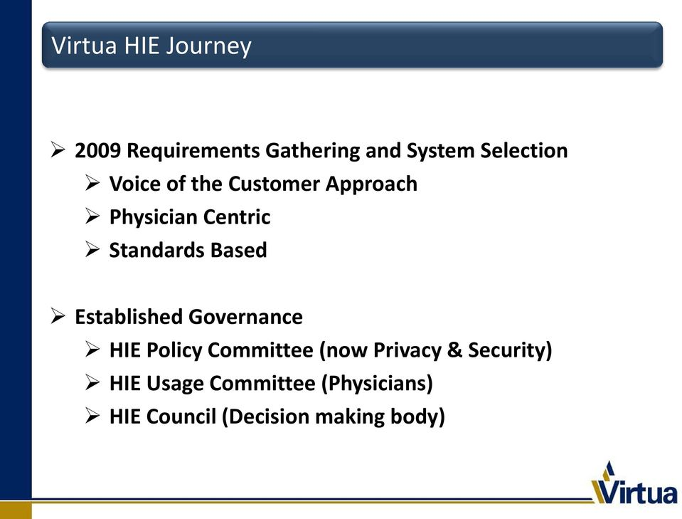 Established Governance HIE Policy Committee (now Privacy &