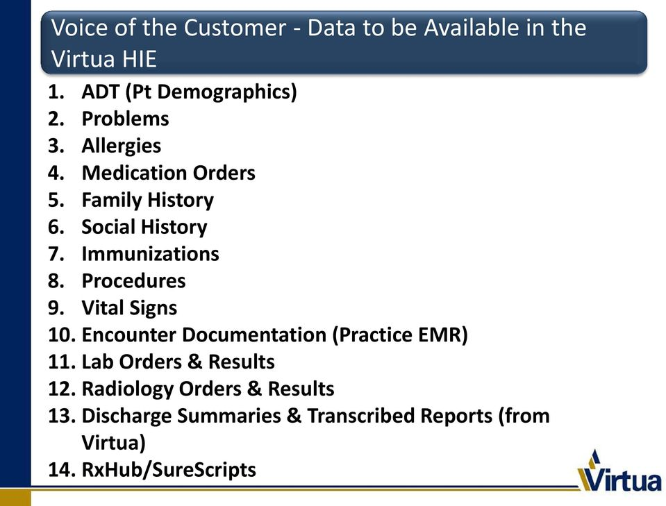 Procedures 9. Vital Signs 10. Encounter Documentation (Practice EMR) 11. Lab Orders & Results 12.