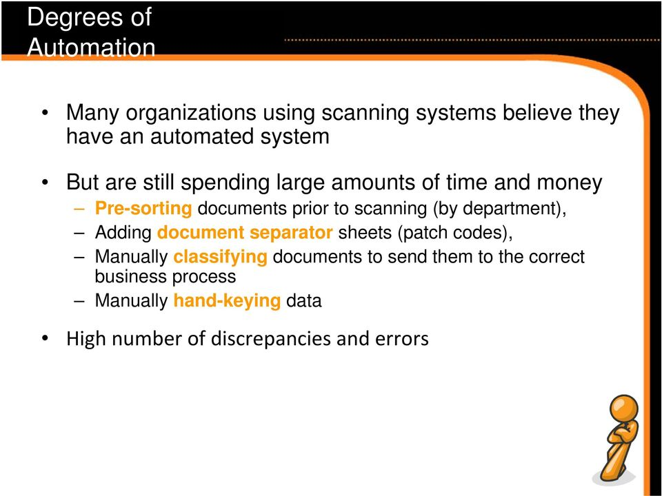 scanning (by department), Adding document separator sheets (patch codes), Manually classifying
