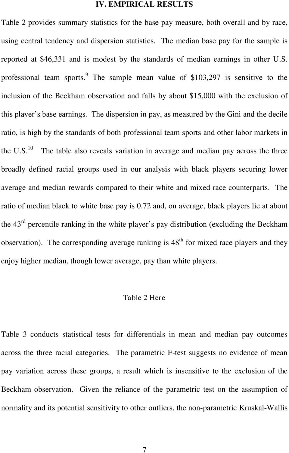 9 The sample mean value of $103,297 is sensitive to the inclusion of the Beckham observation and falls by about $15,000 with the exclusion of this player s base earnings.