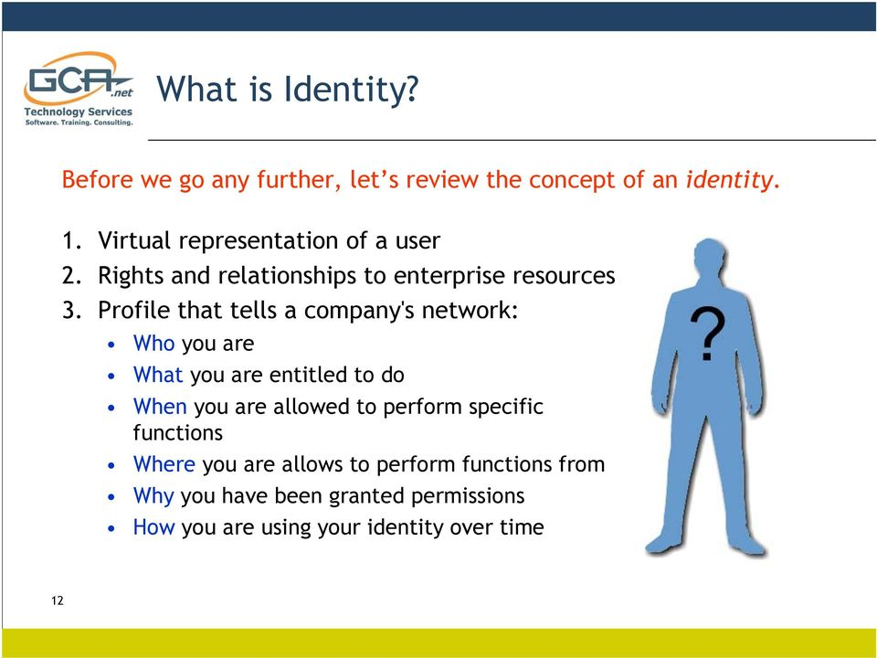 Profile that tells a company's network: Who you are What you are entitled to do When you are allowed to