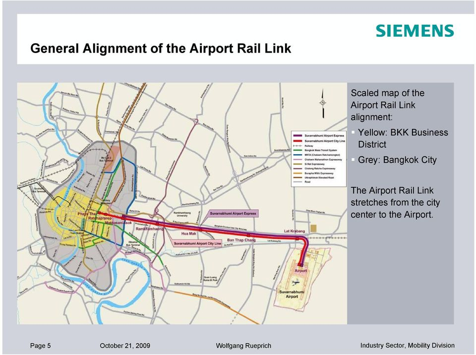 Grey: Bangkok City Depot The Airport Rail Link stretches from