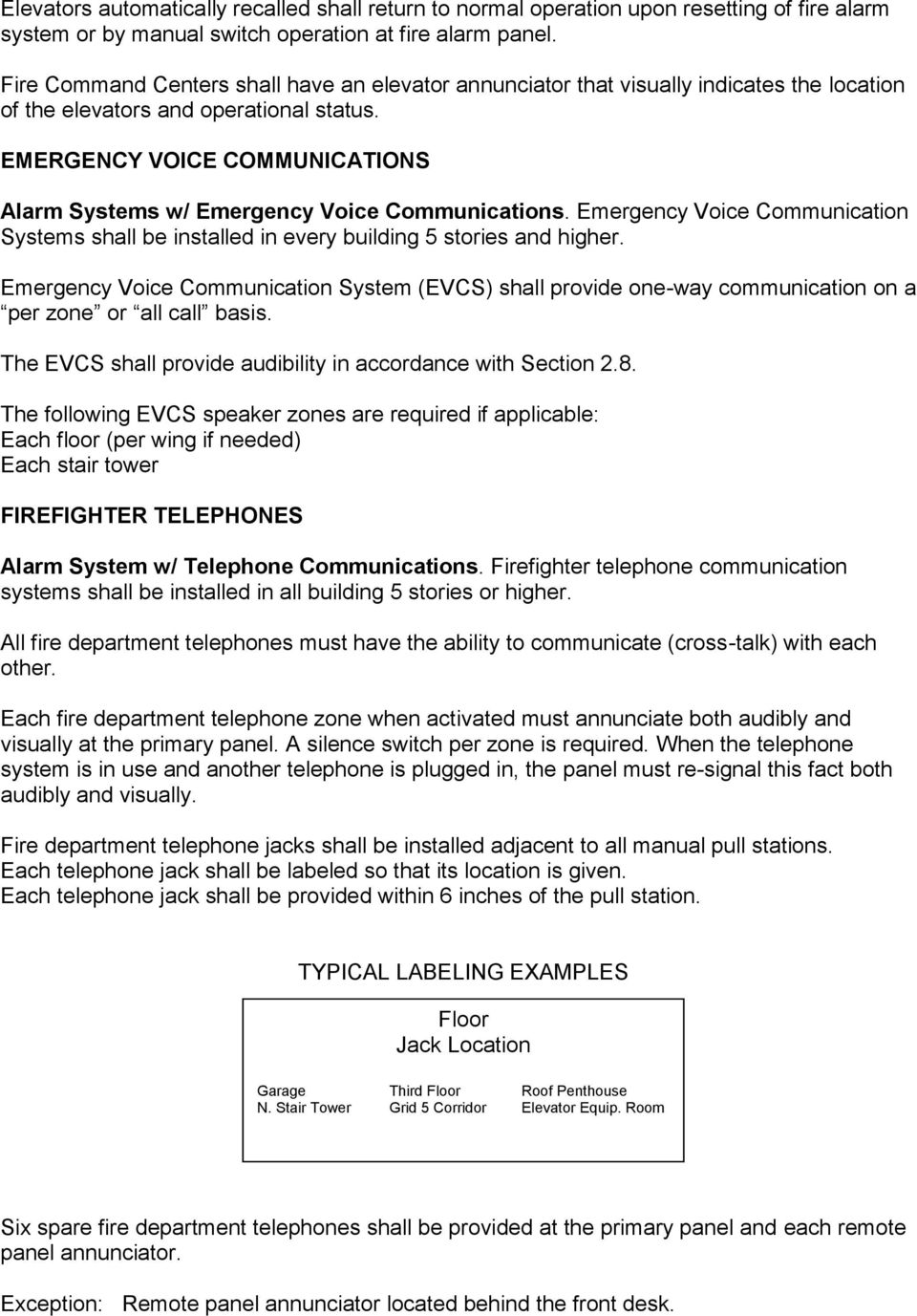 EMERGENCY VOICE COMMUNICATIONS Alarm Systems w/ Emergency Voice Communications. Emergency Voice Communication Systems shall be installed in every building 5 stories and higher.