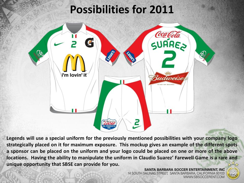 This mockup gives an example of the different spots a sponsor can be placed on the uniform and your logo could be