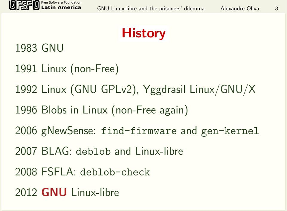 Blobs in Linux (non-free again) 2006 gnewsense: find-firmware and gen-kernel