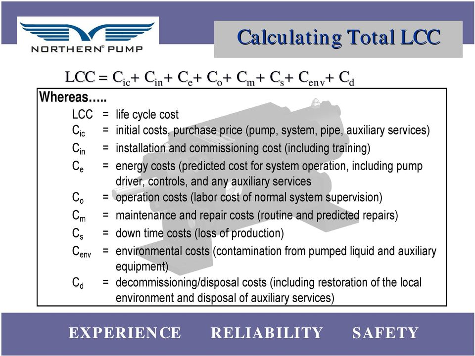 (including trining) = energy costs (predicted cost f system opertion, including driver, controls, nd ny uxiliry services = opertion costs (lb cost nml system