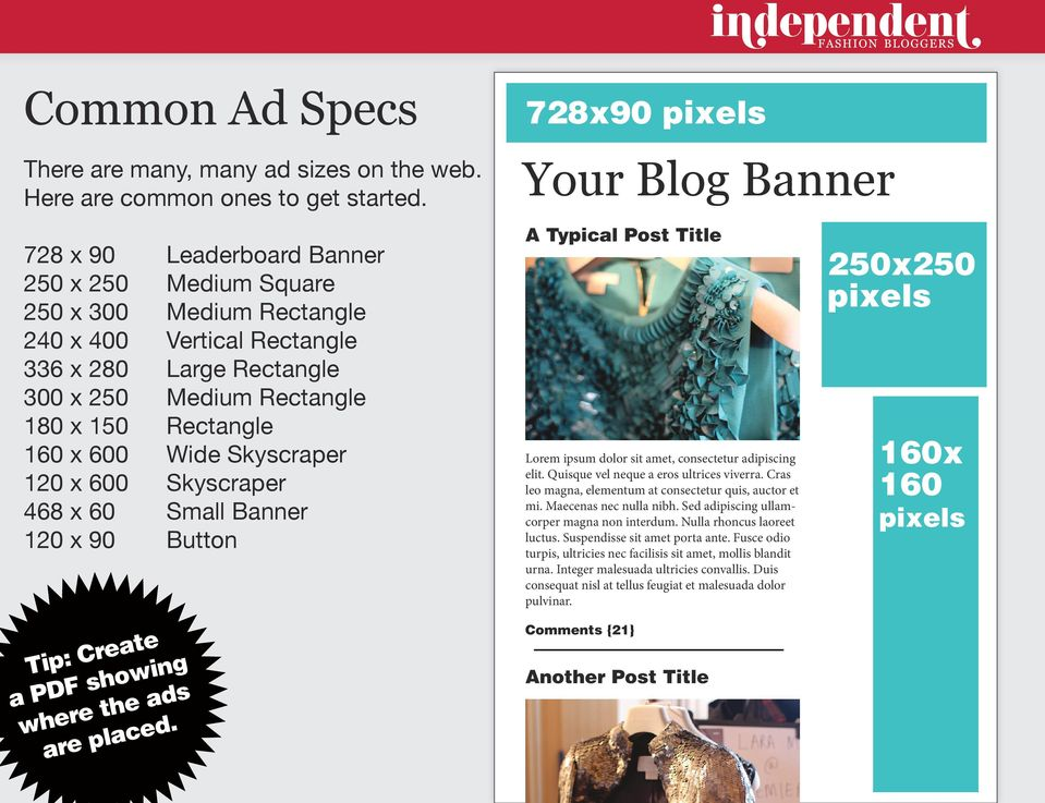 150 Rectangle 160 x 600 Wide Skyscraper 120 x 600 Skyscraper 468 x 60 Small Banner 120 x 90 Button Tip: Create a PDF showing where the ads are placed.