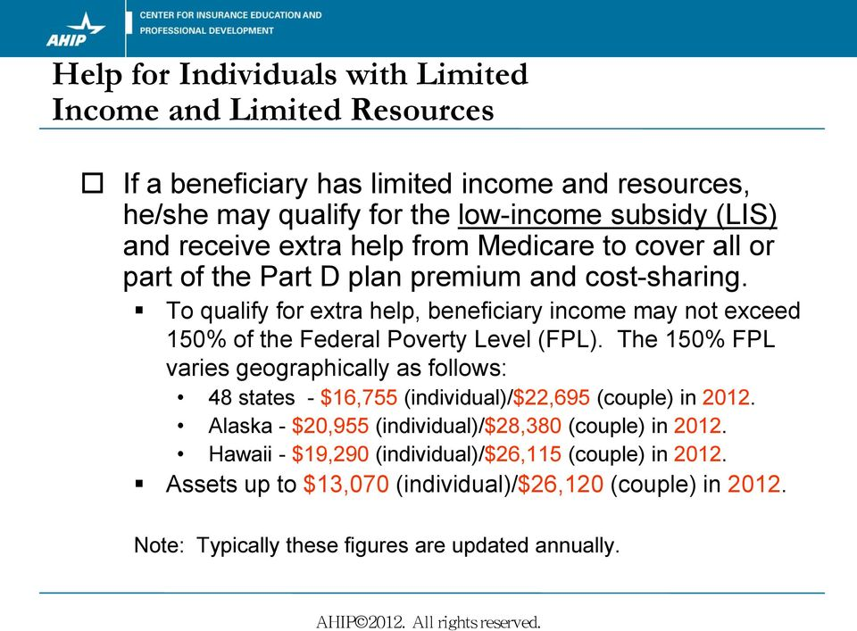 To qualify for extra help, beneficiary income may not exceed 150% of the Federal Poverty Level (FPL).
