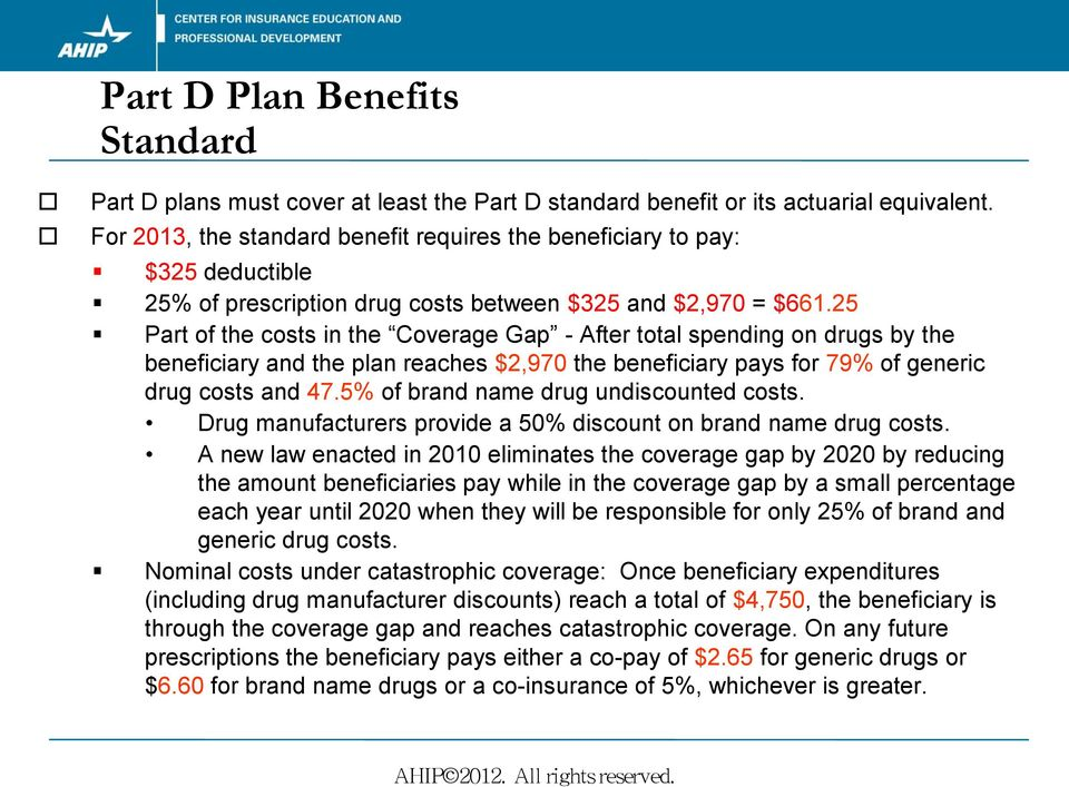 25 Part of the costs in the Coverage Gap - After total spending on drugs by the beneficiary and the plan reaches $2,970 the beneficiary pays for 79% of generic drug costs and 47.