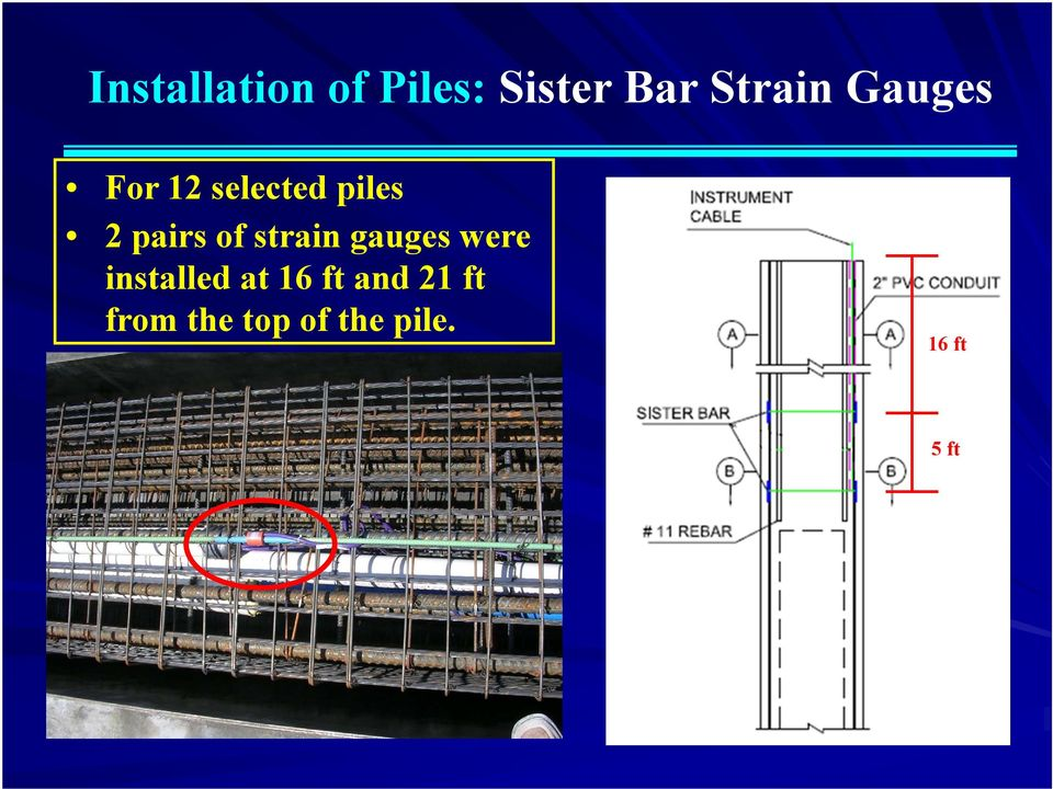 strain gauges were installed at 16 ft and