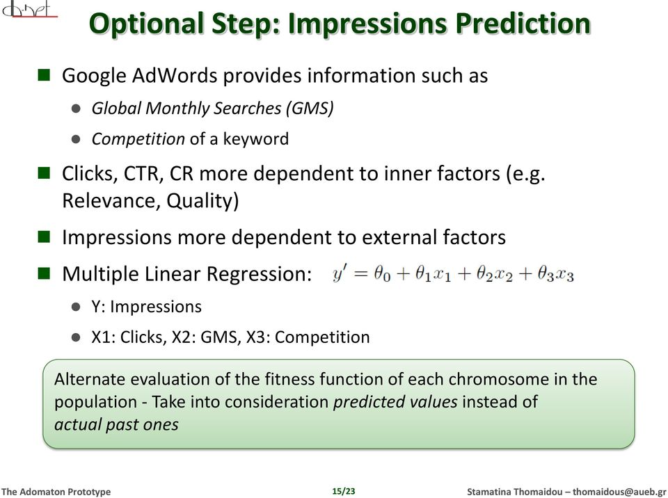 Relevance, Quality) Impressions more dependent to external factors Multiple Linear Regression: Y: Impressions X1: Clicks,