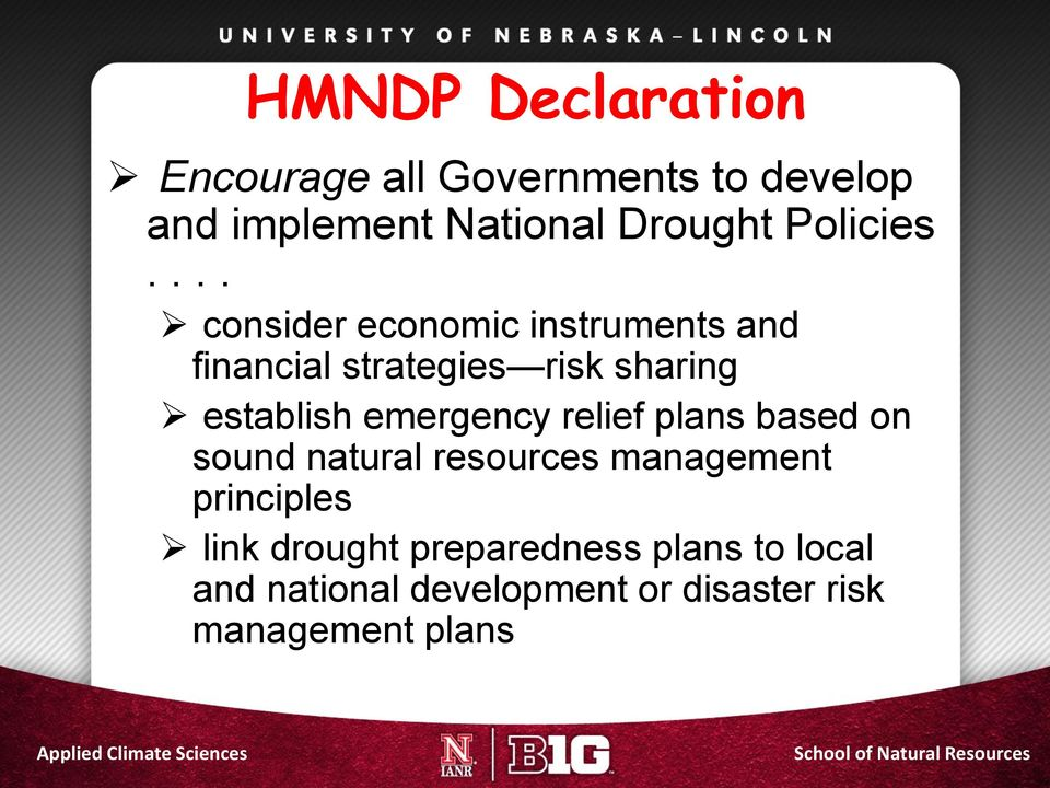 plans based on sound natural resources management principles link drought preparedness plans to local