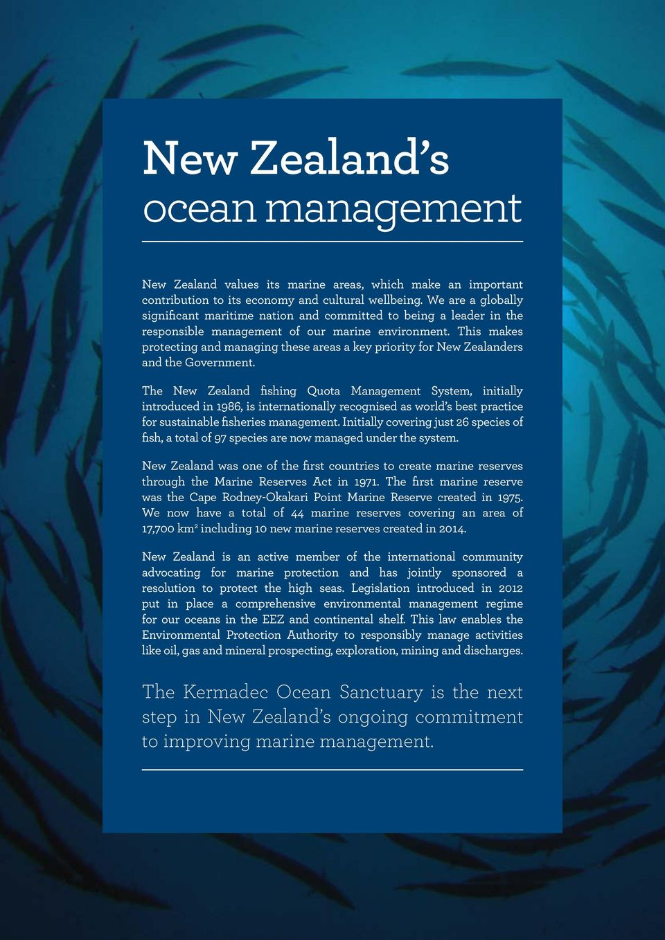 This makes protecting and managing these areas a key priority for New Zealanders and the Government.