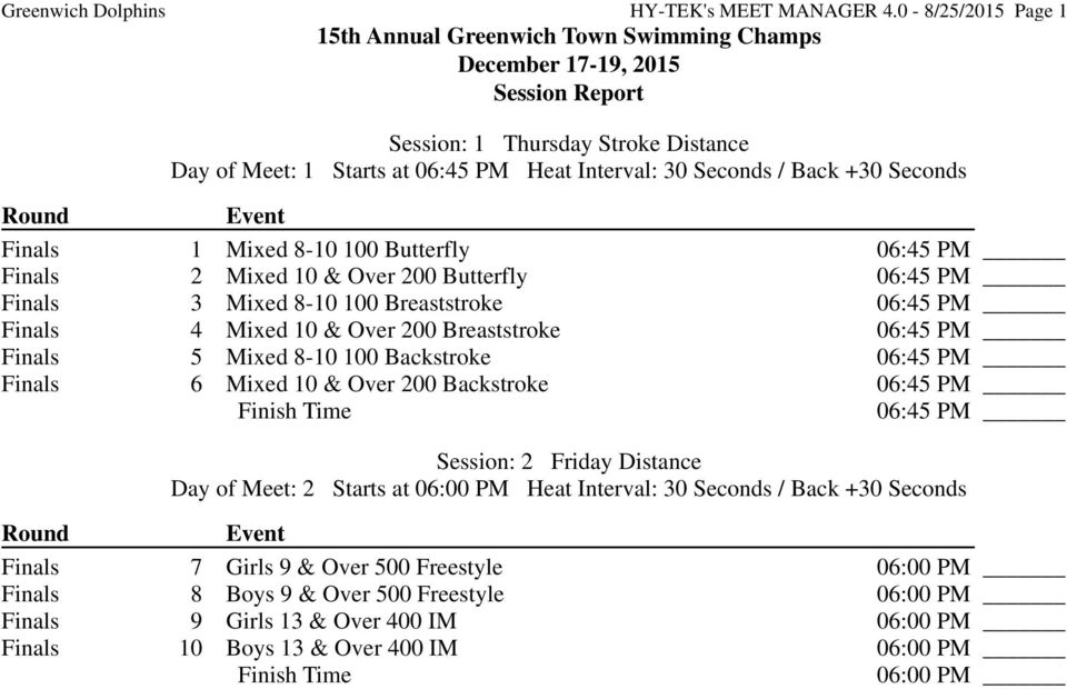 Back +30 Seconds Round Event Finals 1 Mixed 8-10 100 Butterfly 06:45 PM Finals 2 Mixed 10 & Over 200 Butterfly 06:45 PM Finals 3 Mixed 8-10 100 Breaststroke 06:45 PM Finals 4 Mixed 10 & Over 200