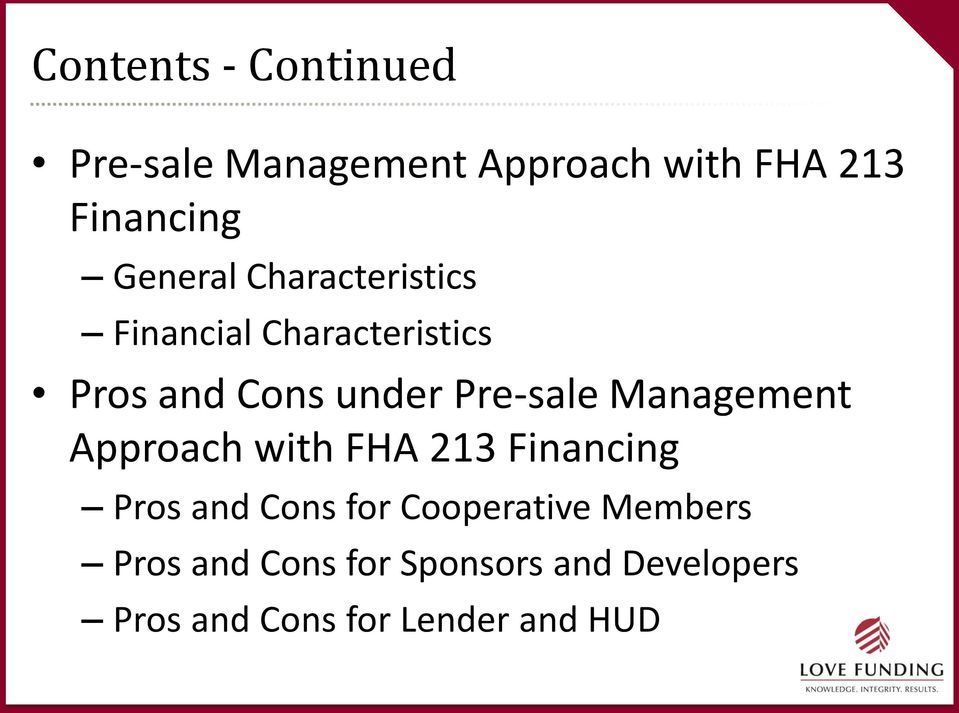 Pre-sale Management Approach with FHA 213 Financing Pros and Cons for