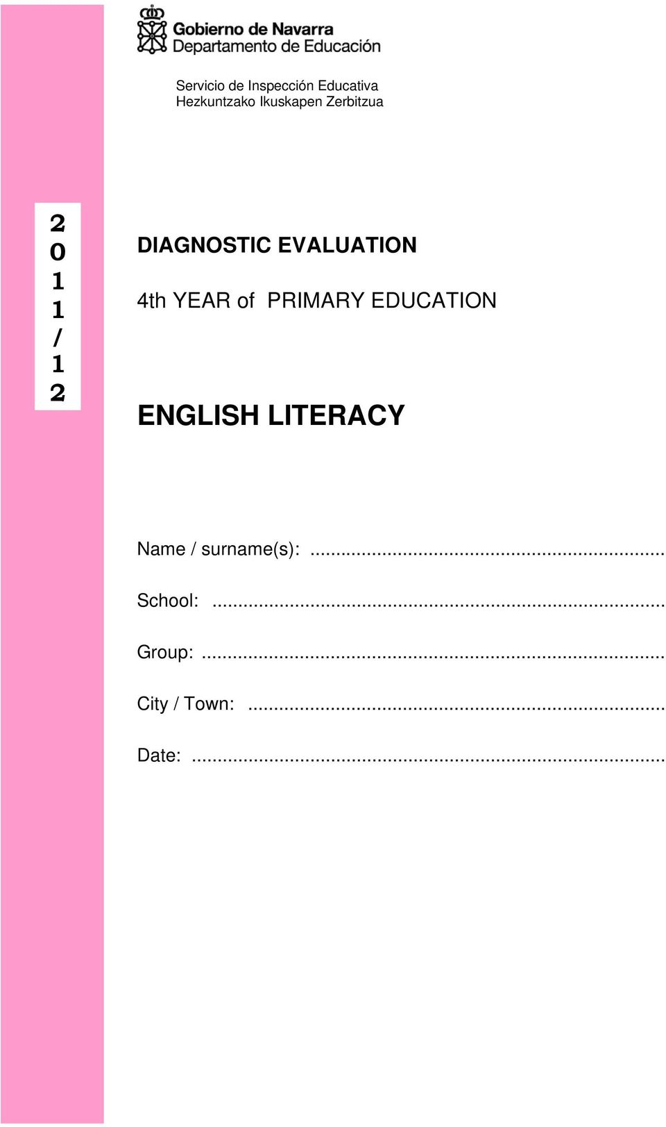EVALUATION 4th YEAR of PRIMARY EDUCATION ENGLISH