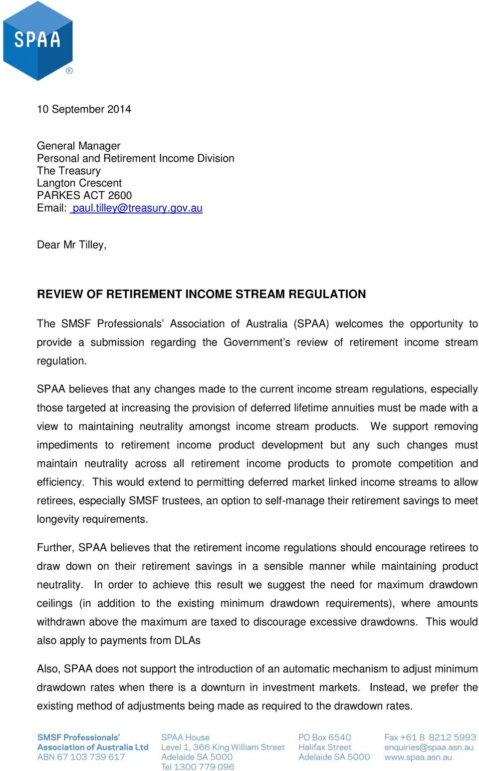 review of retirement income stream regulation.