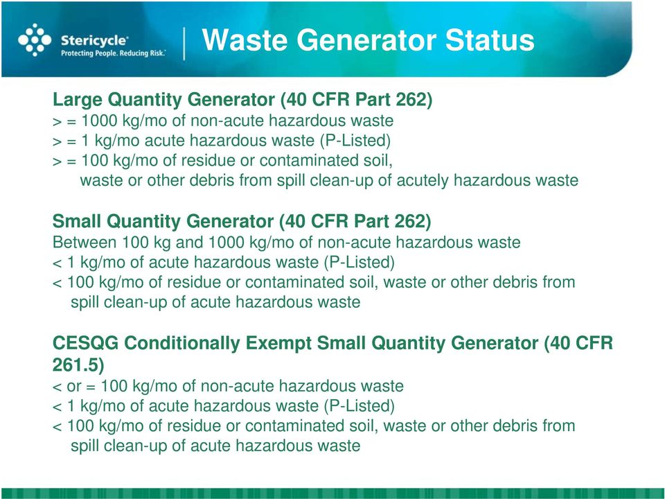 hazardous waste (P-Listed) < 100 kg/mo of residue or contaminated soil, waste or other debris from spill clean-up of acute hazardous waste CESQG Conditionally Exempt Small Quantity Generator (40 CFR