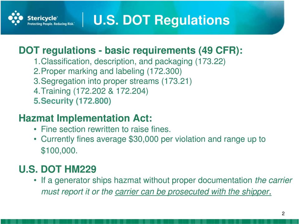 800) Hazmat Implementation Act: Fine section rewritten to raise fines.