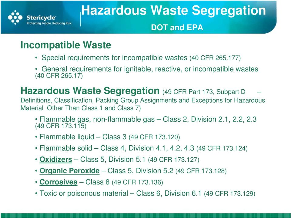 17) Hazardous Waste Segregation (49 CFR Part 173, Subpart D Definitions, Classification, Packing Group Assignments and Exceptions for Hazardous Material Other Than Class 1 and Class 7) Flammable