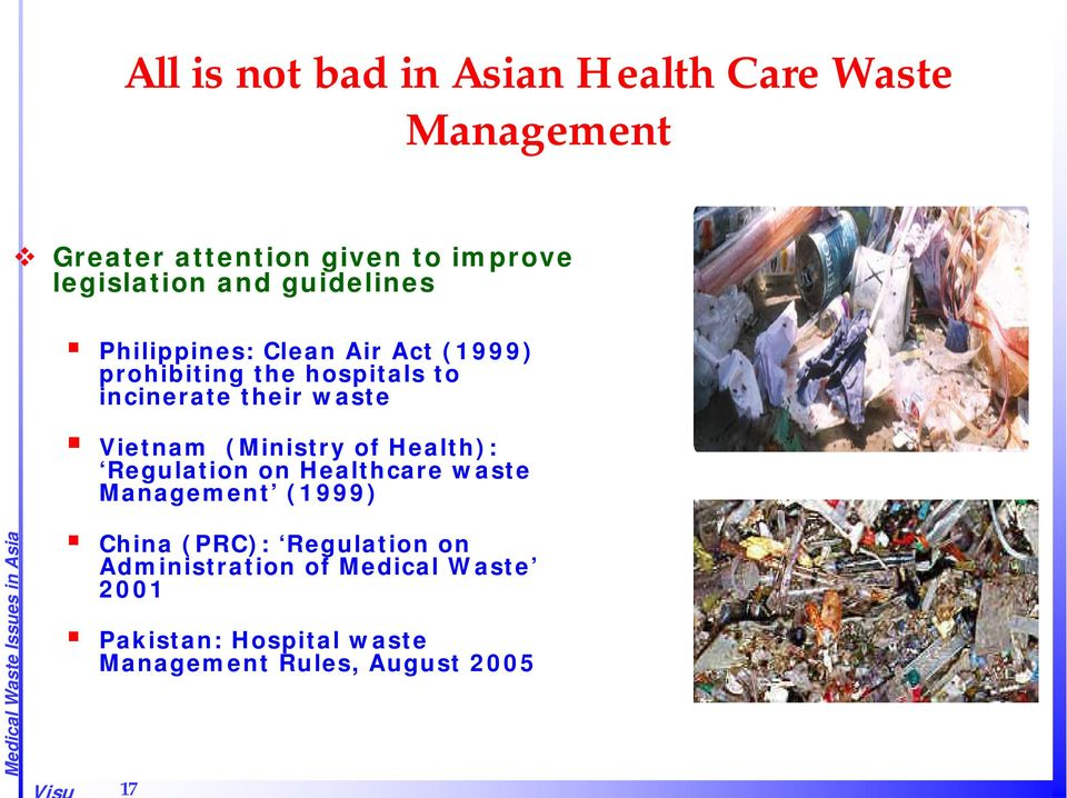 Vietnam (Ministry of Health): Regulation on Healthcare waste Management (1999) China (PRC):
