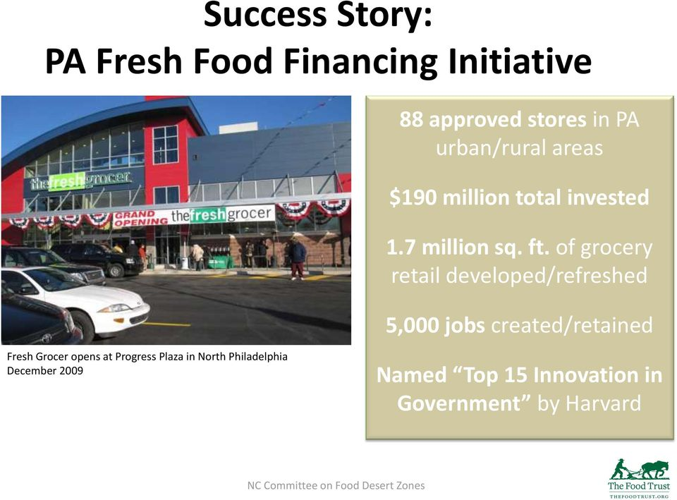 of grocery retail developed/refreshed 5,000 jobs created/retained Fresh Grocer opens at