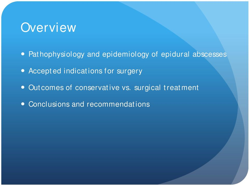 for surgery Outcomes of conservative vs.