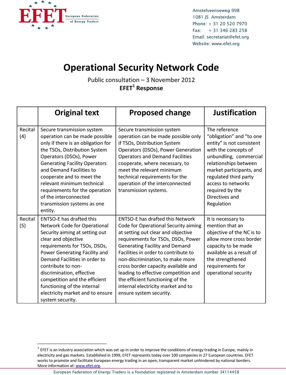org Operational Security Network Code Public consultation 3 November 2012 EFET 1 Response Original text Proposed change Justification Recital (4) Secure transmission system operation can be made