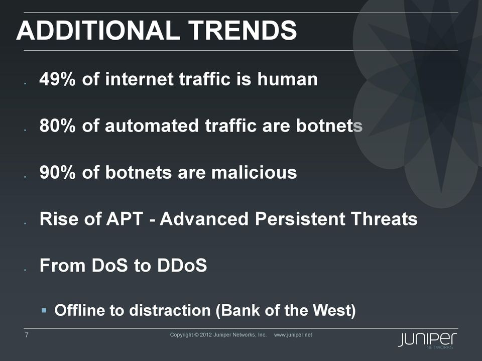 Advanced Persistent Threats DoS to DDoS Offline to distraction (Bank
