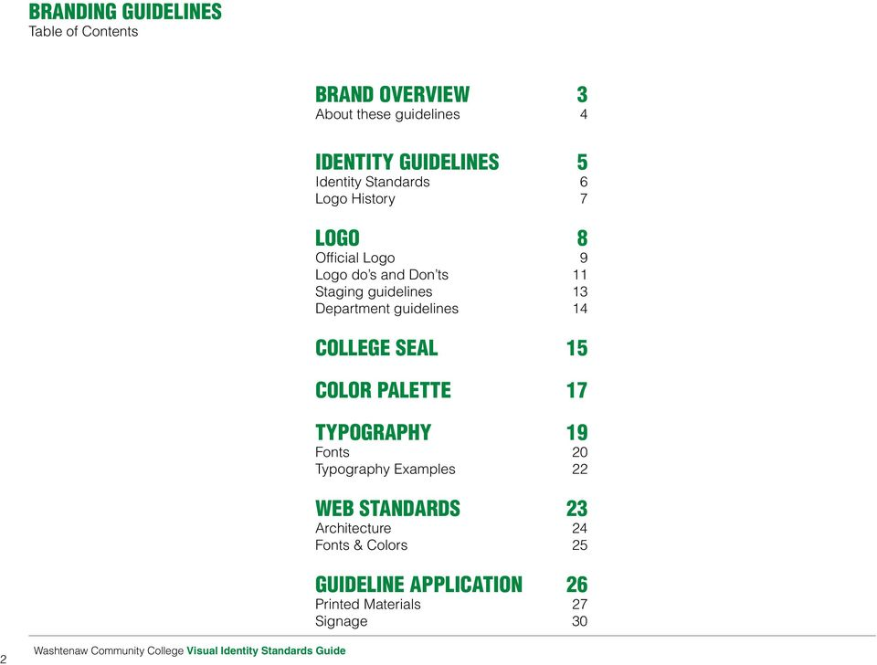 14 College Seal 15 Color Palette 17 Typography 19 Fonts 20 Typography Examples 22 WEB STANDARDS 23 Architecture 24